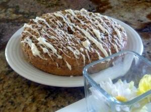 white chocolate peach coffee cake