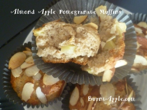 apple almond pomegranate muffins