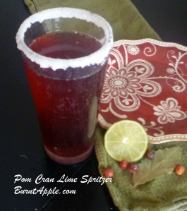 pomegranate cranberry lime spritzer
