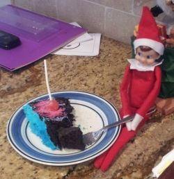 elf eating cake